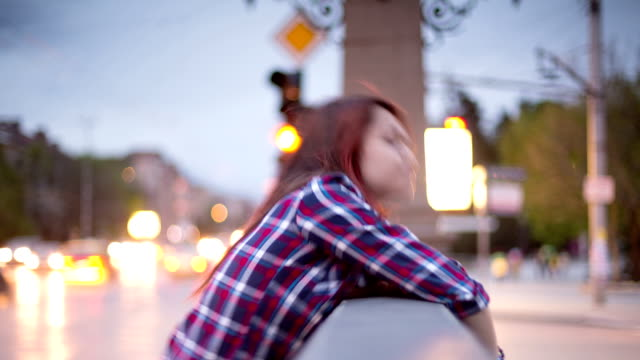 teenage girl texting on smartphone in the city - profile stock videos and b-roll footage