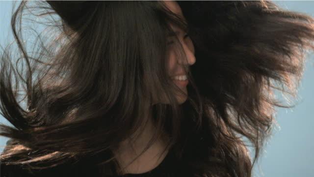 cu slo mo teenage girl (14-15) tossing hair / san francisco, california, usa    - hair toss stock videos & royalty-free footage