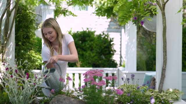 teenage girl watering flowers looking to camera - one teenage girl only stock videos & royalty-free footage