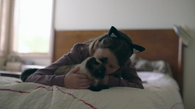 MS Teenage girl wearing cat ears hugging her cat in her bedroom