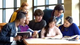 Teenage girl with down syndrome, friends studying