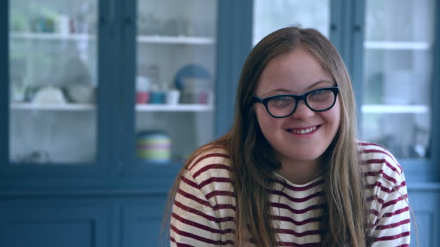 teenage girl with down syndrome, laughing and smiling - one teenage girl only stock videos & royalty-free footage