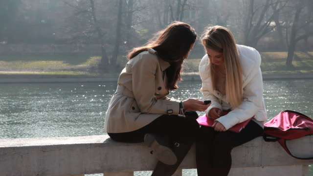Teenage girls check text on marble rail, river below