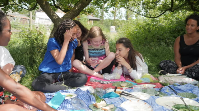 teenage girls checking phone at a picnic, interrupted by insect - sparse stock videos and b-roll footage