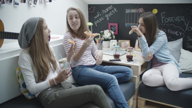 4K: Teenage Girls Eating Pizza.