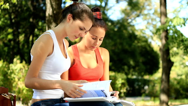 teenage girls learning attentively outdoors - only teenage girls stock videos & royalty-free footage