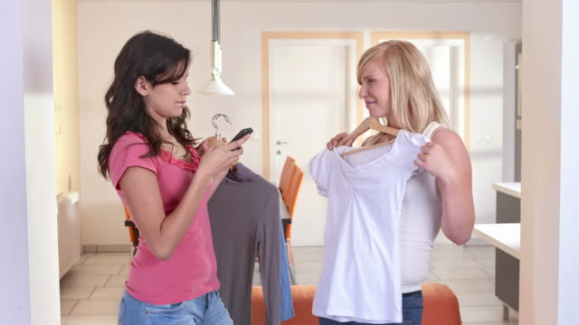 HD: Teenage Girls Taking Photos With New Clothes