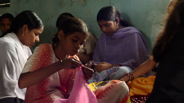 MS Teenage girls working on embroidery project with Prerana women's group, Lalkuan, Uttarakhand, India