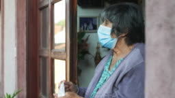 Teenage girl,volunteer,delivering groceries to a senior woman, insulation,COVID 19
