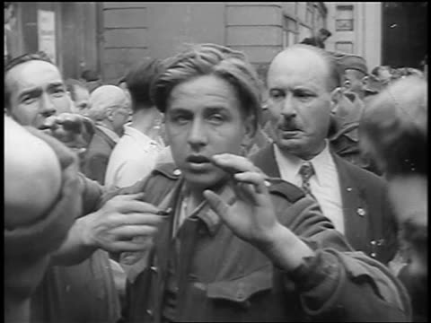 b/w 1944 teenage nazi soldier raising hands in surrender / paris / documentary - one teenage boy only stock videos & royalty-free footage
