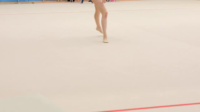 teenage rhythmic gymnastics athlete practicing - low section stock videos & royalty-free footage