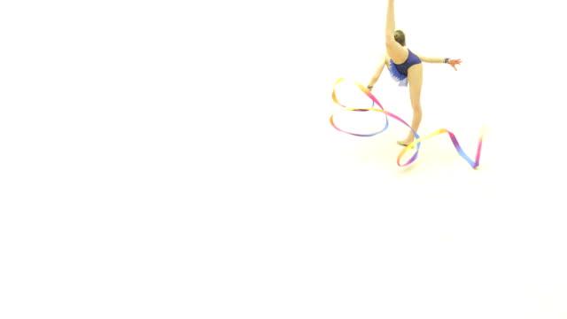 teenage rhythmic gymnastics athlete practicing - pirouette stock videos and b-roll footage