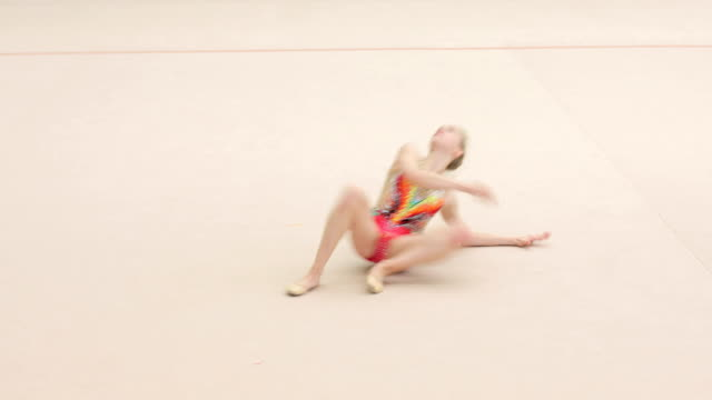 teenage rhythmic gymnastics athlete practicing with cool attitude - failure stock videos & royalty-free footage
