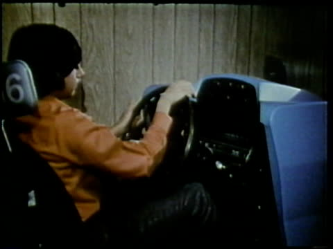 1972 montage teenage students in driver's class, arlington, virginia, usa / audio - learning to drive stock videos and b-roll footage