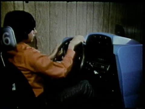 1972 MONTAGE Teenage students in driver's class, Arlington, Virginia, USA / AUDIO