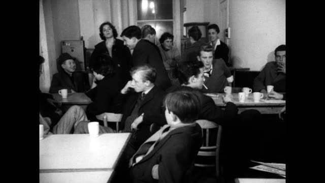teenage teddy boys hang out in 'teen canteen'; 1960 - canteen stock videos & royalty-free footage