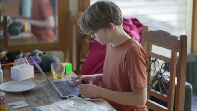 A teenager boy working on his school work at home