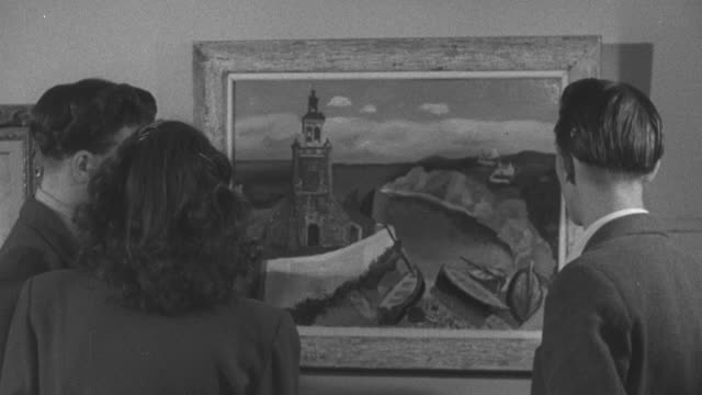 1947 montage teenager couples admiring art at a gallery / united kingdom - teenage couple stock videos & royalty-free footage