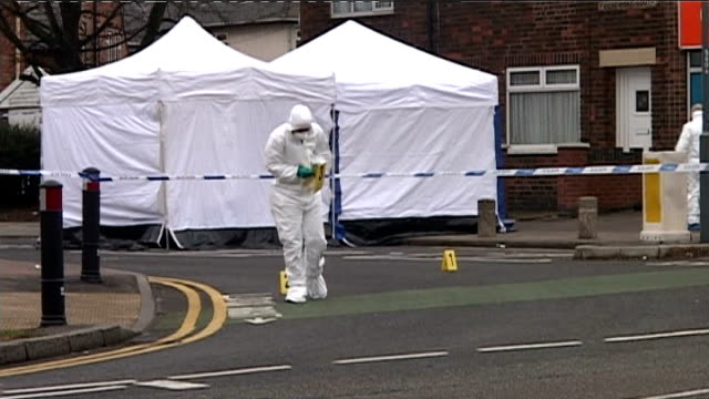 Teenager fatally stabbed in Edmonton DAY Leicester Police forensics officers working at scene of stabbing of 16yearold Bradley Whitfield
