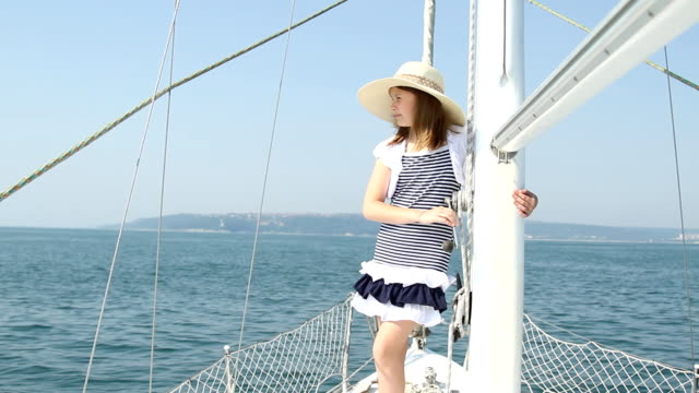 Teenager girl at yacht