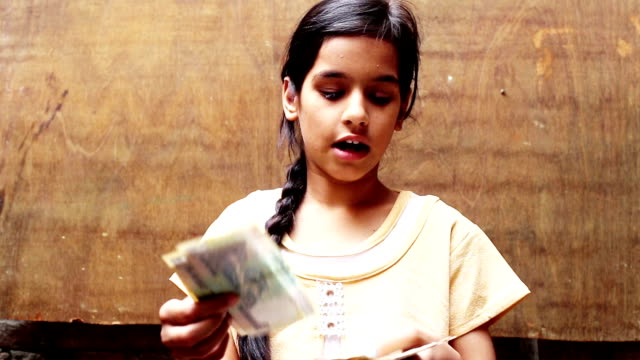 teenager girl counting money - emotion stock videos & royalty-free footage