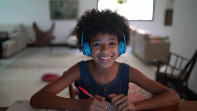 teenager girl doing a video call during homeschooling - webcam point of view - webcam stock videos & royalty-free footage
