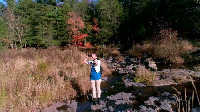 ティーンエイ ジャーの女の子 hicking ポコノス、ペンシルバニア、トビーハナはクリークに沿って。空中ドローン ビデオ。 - 双眼鏡点の映像素材/bロール