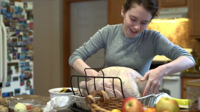 teenager girl stuffing the turkey for a holiday family dinner. - goose meat stock videos and b-roll footage