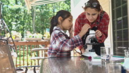 Teenager girl teaching her younger sister how to use a microscope. They preparing a specimen and watching it together at the porch on a sunny summer day.