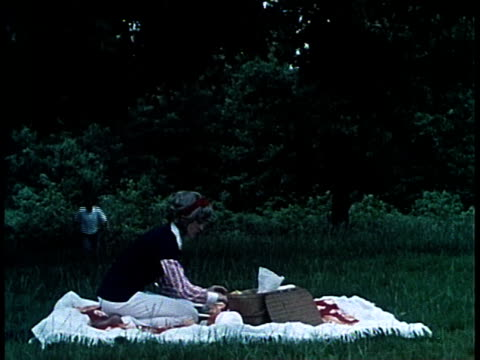 1965 montage teenager jogging out of woods, joining a woman at a picnic / united states - picknick stock videos and b-roll footage