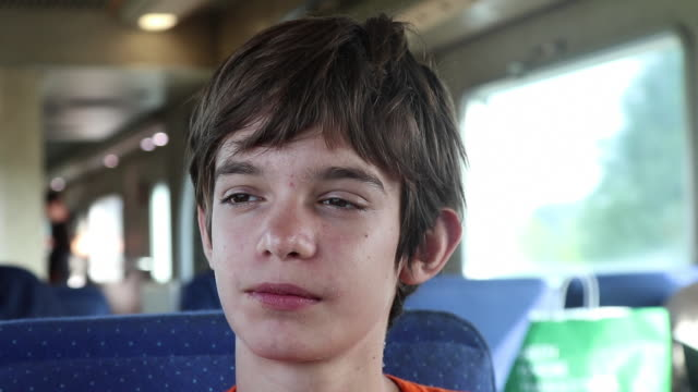 teenager portrait on a train - brace stock videos and b-roll footage