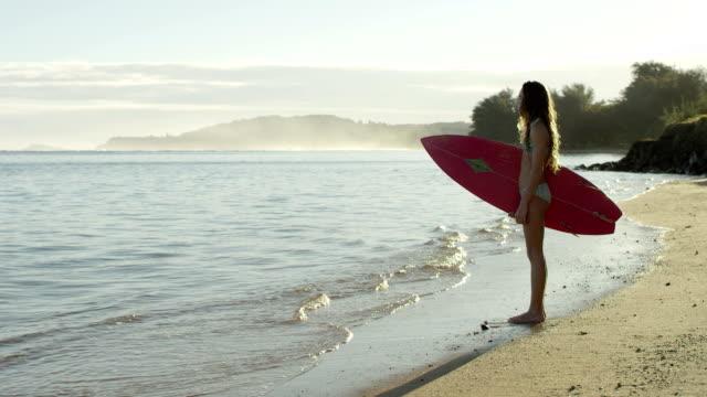 vídeos de stock, filmes e b-roll de adolescente surf em uma praia tropical férias no havaí - esporte aquático