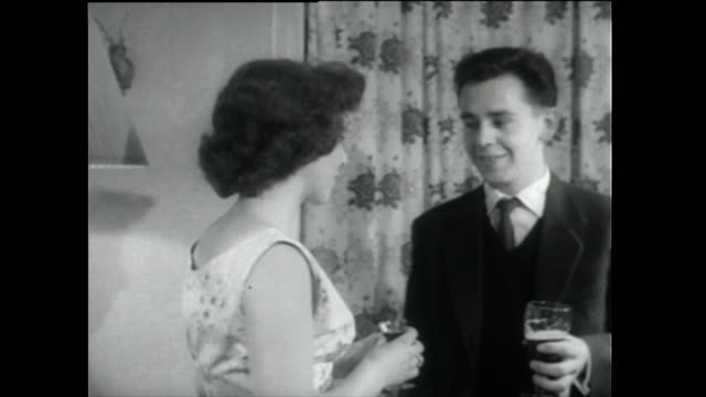 teenagers and young adults talk at a drinks party; 1955 - 1955 stock videos & royalty-free footage
