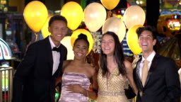 Teenagers having fun at after prom party