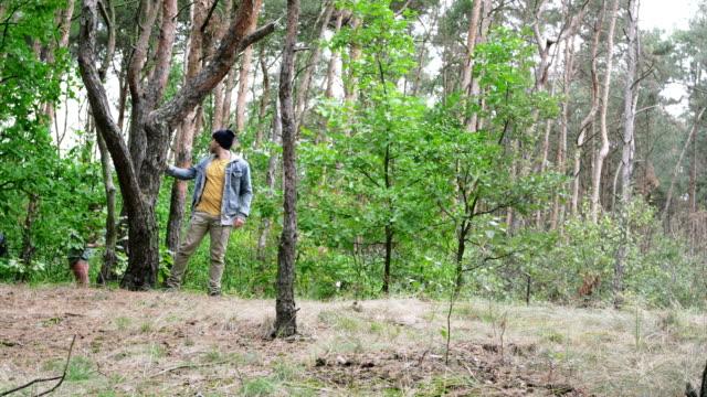 vídeos de stock, filmes e b-roll de adolescentes na floresta. - brincadeira de pegar