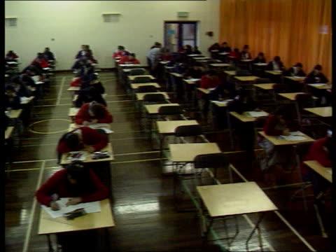 teenagers legals action; seq pupils taking exams ext london seq hackney downs school hackney - hackney stock videos & royalty-free footage