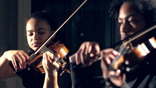 teenagers playing violin in concert - musician stock videos & royalty-free footage