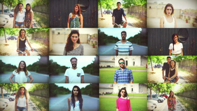 teenagers portrait composition - montage stock videos & royalty-free footage