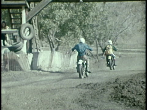 1973 montage teenagers riding motorcycles, vo of teenager / united states - one teenage boy only stock videos & royalty-free footage