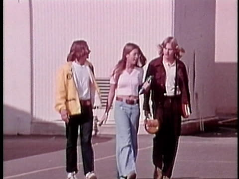 1973 montage teenagers walking outdoors, los angeles, california, usa / audio - 1973 stock videos and b-roll footage