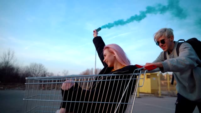 teens in exciting ride with shopping cart - shopping trolley stock videos & royalty-free footage
