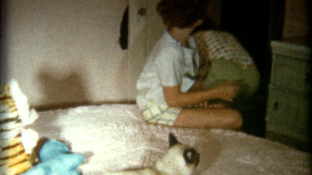 teens play with cat in 1950's - home movie stock videos & royalty-free footage
