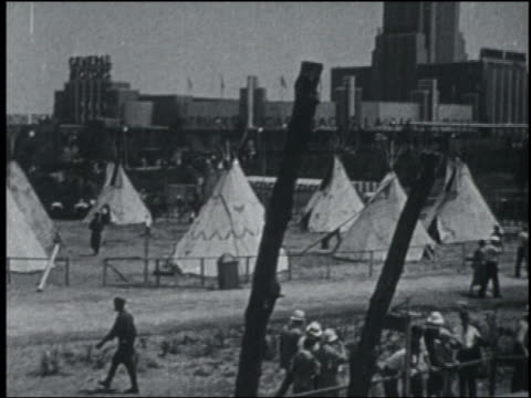b/w 1933 teepees in american indian village exhibit at chicago world's fair - chicago world's fair stock videos and b-roll footage