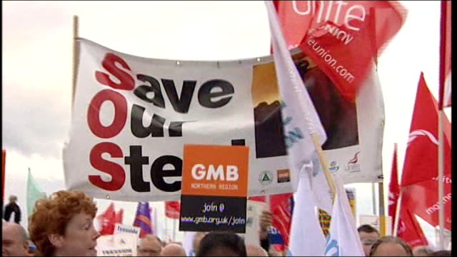 general views of protest march against threatened closure of the corus steel plant in redcar protesters chanting at demonstration - steel stock videos & royalty-free footage