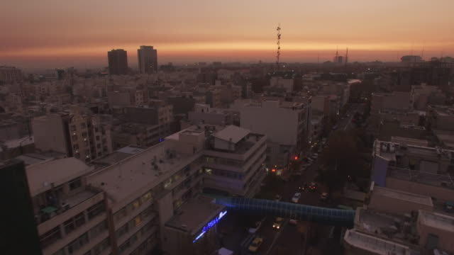 tehran aerial busy city morning sunrise - teheran video stock e b–roll