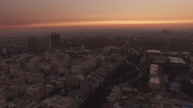 tehran aerial busy city morning sunrise - tehran stock videos and b-roll footage