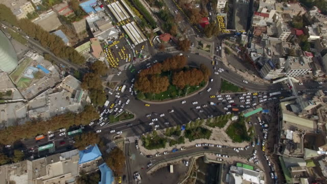 tehran aerial busy city tajrish square day flight - teheran video stock e b–roll