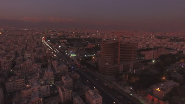tehran aerial twilight city sunset - teheran video stock e b–roll