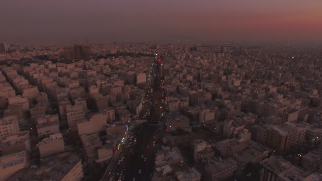 tehran aerial twilight city sunset - tehran stock videos and b-roll footage