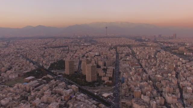 Tehran aerial twilight city sunset